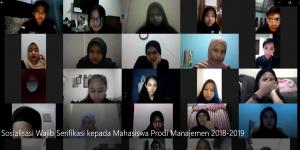 Sosialisasi wajib serifikasi kepada mahasiswa  UPJ Prodi Manajemen 2018-2019